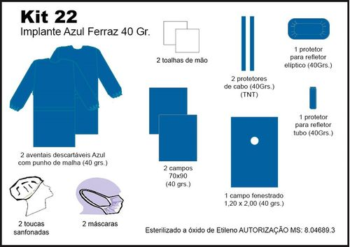 Kit 22 - Implante Azul FERRAZ 40 GR